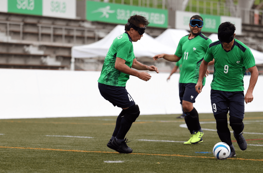 Atletas da selecao durante Treino de futebol de cinco em Hamamatsu, cidade-sede da delegação Brasileira para aclimatação antes dos Jogos Paralímpicos de Toquio (Matsui Mikihito/CPB)