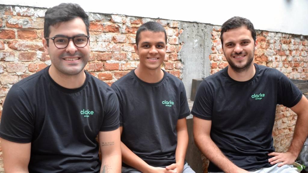 Pedro Rio, Victor Copque e Rodrigo Camargo, fundadores da Clarke Energia (Divulgação)